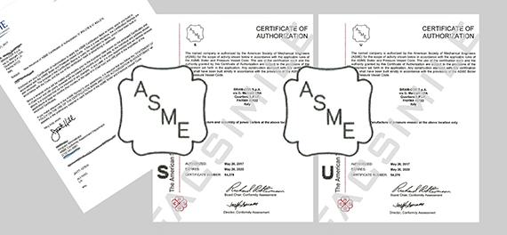 "Bram-Cor S.pA. - ASME ""S"" (boilers) and ""U"" (pressure vessels"") stamp"